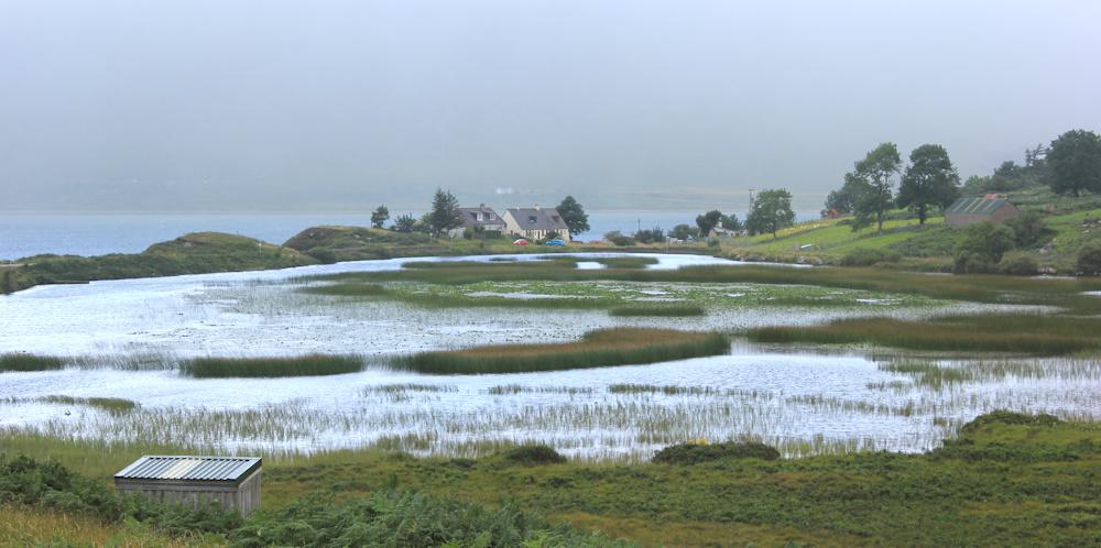39 view over pond to Milton, Ruth walking the coast of Scotland, Applecross