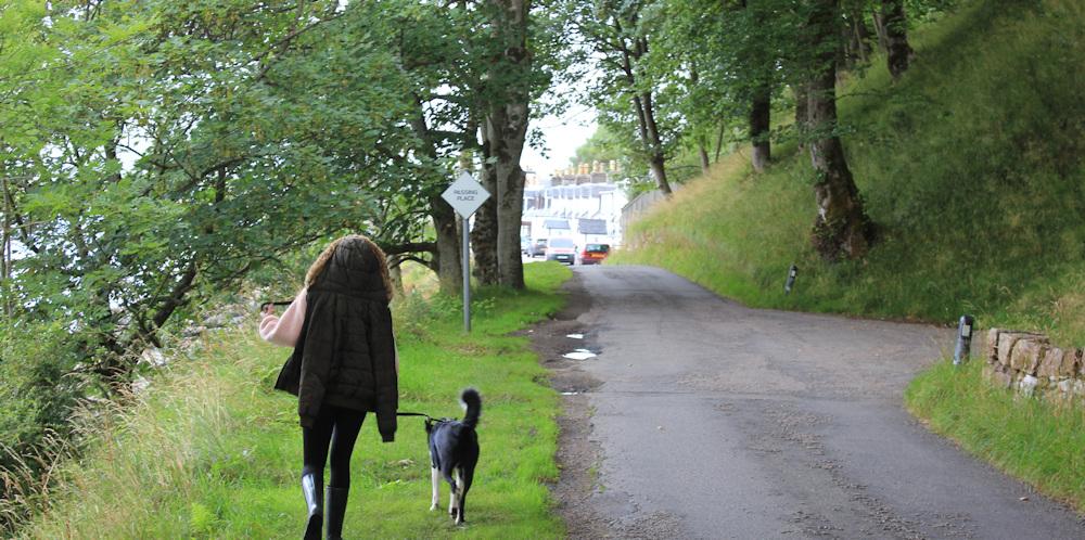 41 walking into Applecross, Ruth walking the coast of Scotland, Wester Ross