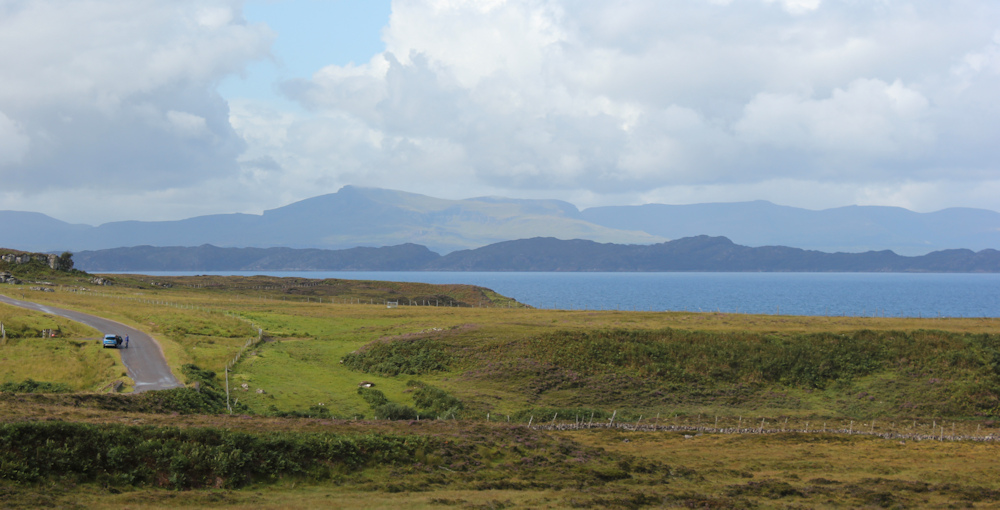 07 view across to Skye, Ruth hiking around the north of Applecross, Scotland