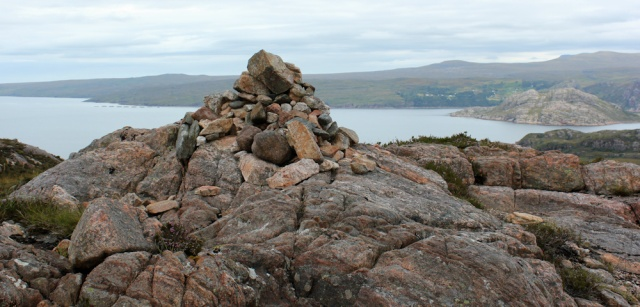 11 cairn on A' Bhainlir, Ruth walking the south bank of Loch Torridon, Scotland