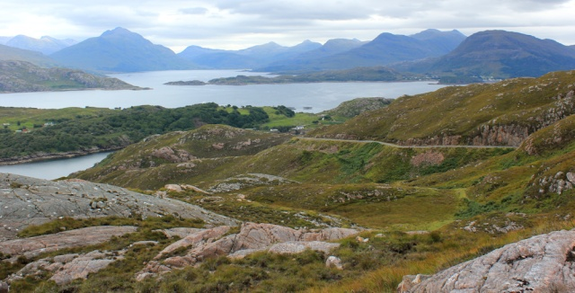 13 view from A' Bhainlir, Ruth walking the south bank of Loch Torridon, Scotland