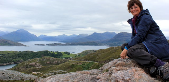 14 self-portrait on A' Bhainlir, Ruth walking the south bank of Loch Torridon, Scotland