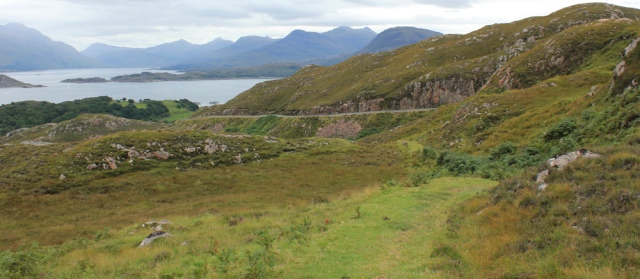 15 path down to Ardheslaig from A' Bhainlir, Ruth walking the south bank of Loch Torridon, Scotland