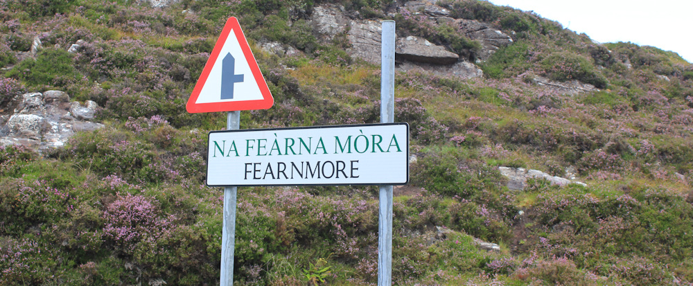17 Fearnmore sign, Ruth hiking around the north of Applecross, Scotland