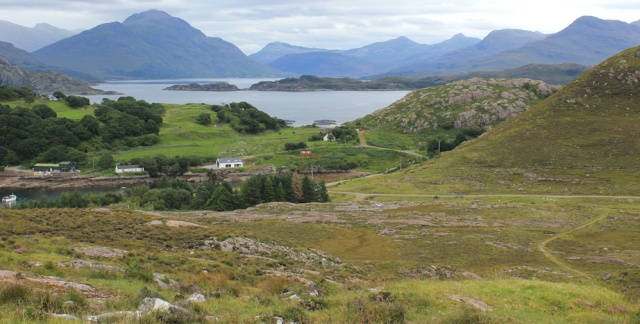 17 path down to the road, and Ardheslaig, Ruth walking the south bank of Loch Torridon, Scotland
