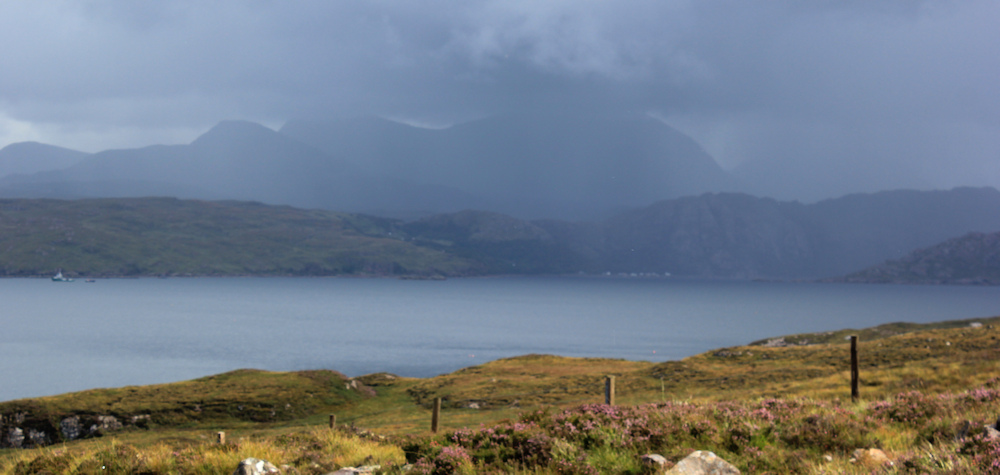19 storm clouds over Loch Torridon, Ruth hiking around the north of Applecross, Scotland