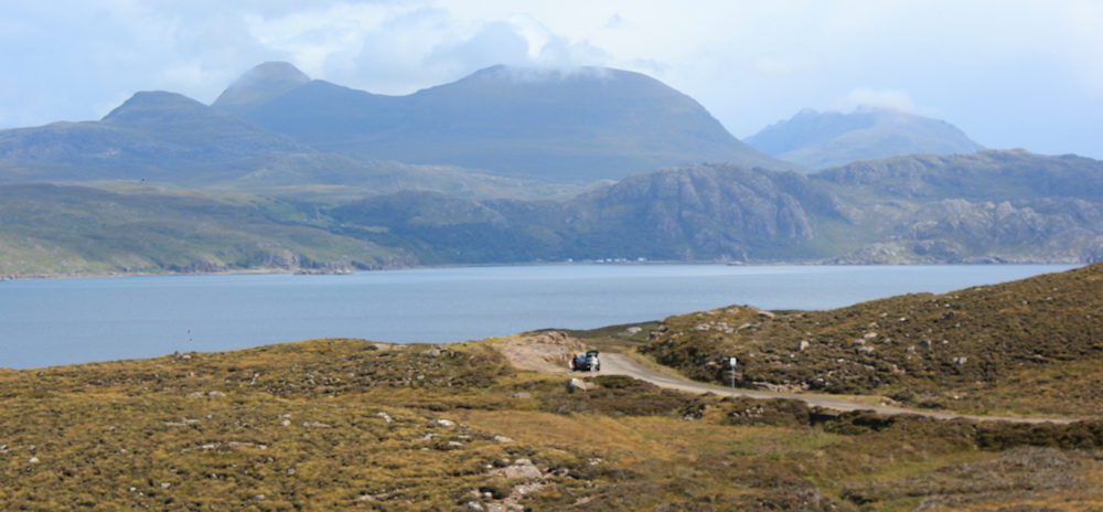 21 clearing skies, Loch Torridon, Ruth hiking around the north of Applecross, Scotland