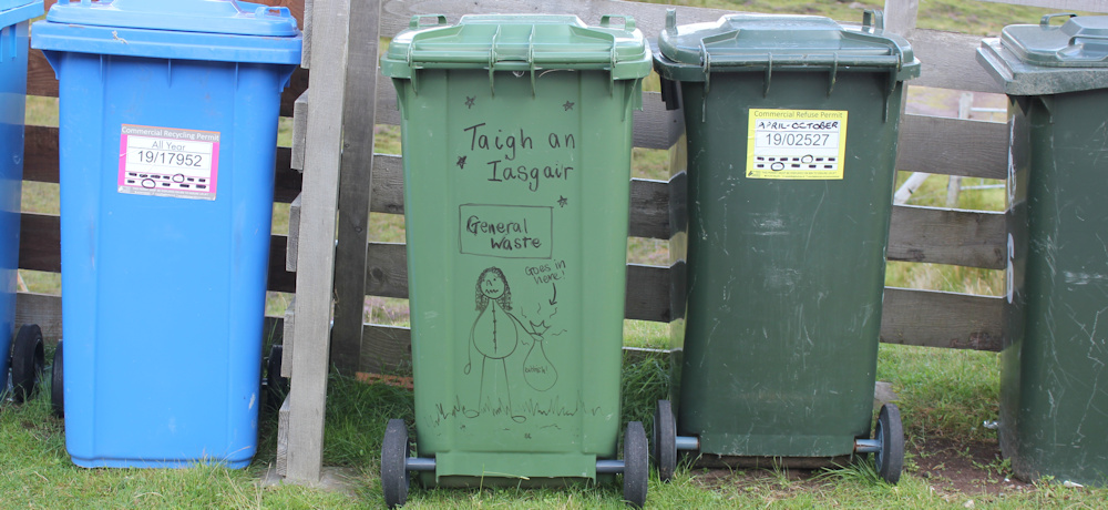 25 waste bin drawing, Fearnbeg, Ruth hiking around the north of Applecross, Scotland