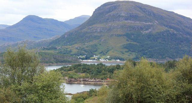 28 first view of Shieldaig, Ruth walking the south bank of Loch Torridon, Scotland