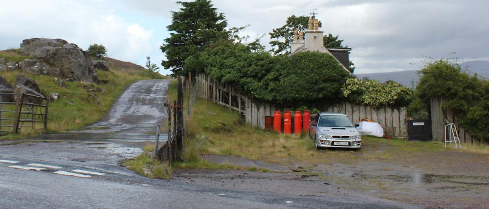 30 turnoff to Arrisa, Ruth hiking around the north of Applecross, Scotland