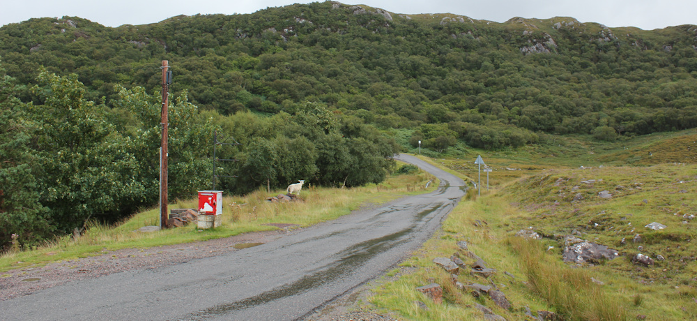31 wet road to Kenmore, Ruth walking the coast North Applecross, Scotland