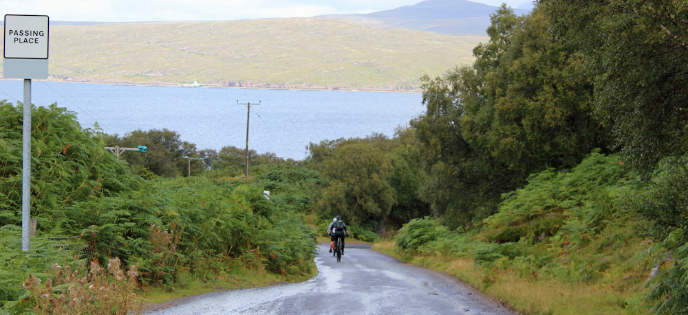 33 cyclists on the way to Kenmore, Ruth hiking the north coast of Applecross, Scotland