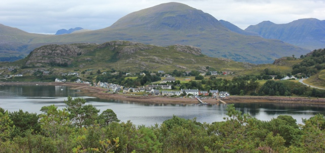 34 even better view of Shieldaig, Ruth walking the south bank of Loch Torridon, Scotland