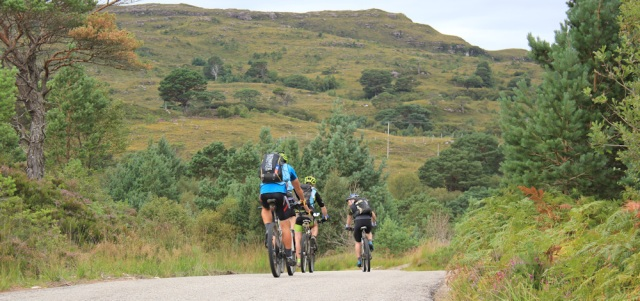 35 touring cyclists again, approaching Ceann Locha, Ruth walking the south bank of Loch Torridon, Scotland