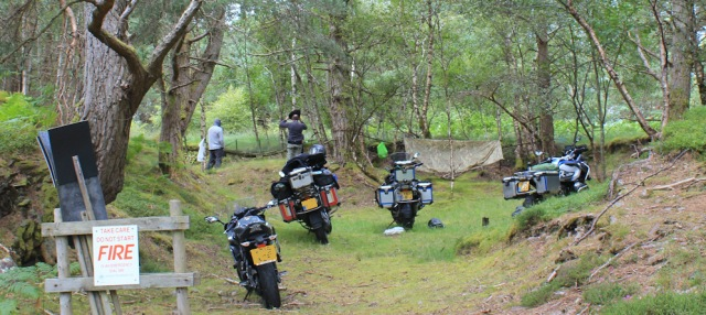 40 motorcyclists campsite, Ruth walking the south bank of Loch Torridon, Scotland