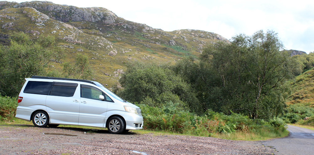 42 The parked Beast, Kenmore, Ruth hiking the north coast of Applecross, Scotland