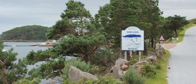 47 turnoff to Shieldaig, Ruth hiking the coast of Scotland