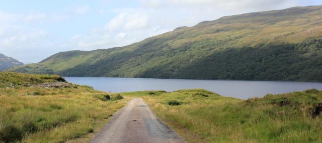 06 Loch Arienas, Ruth walking across the Morvern Peninsula, Scotland