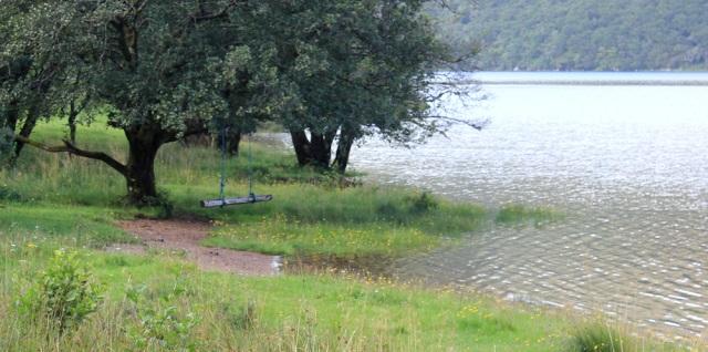 07 swing by Loch Arienas, Ruth hiking across the Morvern Peninsula, Scotland