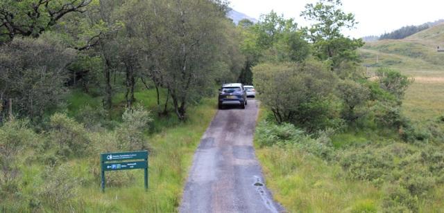 11 traffic jam by the forestry car park, Ruth walking across the Morvern Peninsula, Scotland