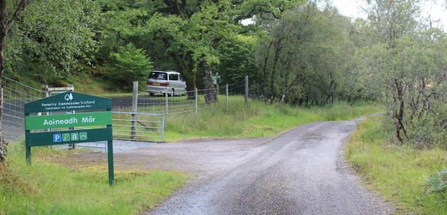 12 The Beast parked in Aoineadh Mor car park, Ruth walking across the Morvern Peninsula, Scotland