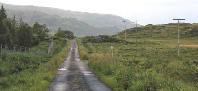 13 wet road to Loch Teacuis, Ruth walking across the Morvern Peninsula, Scotland