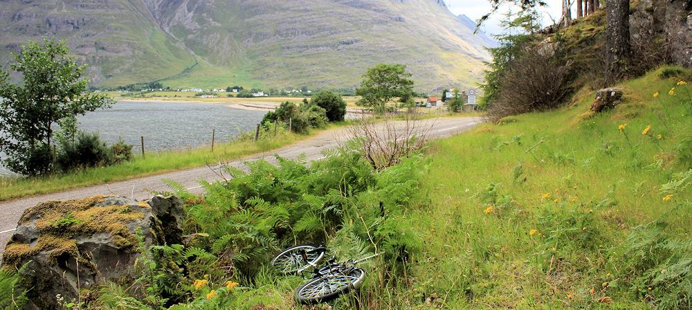 001 The Monster bike at Annat, Ruth walking the coast of Scotland