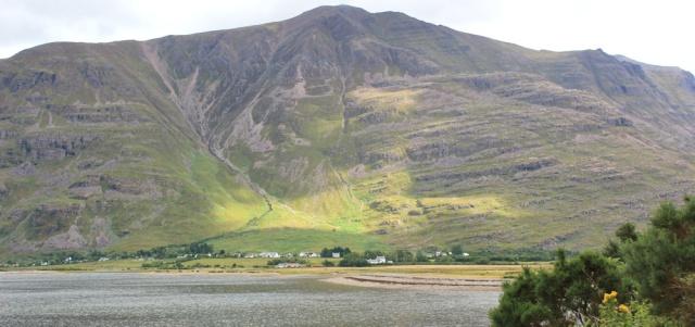 002 Torridon from Annat, Ruth walking the coast of north-west Scotland