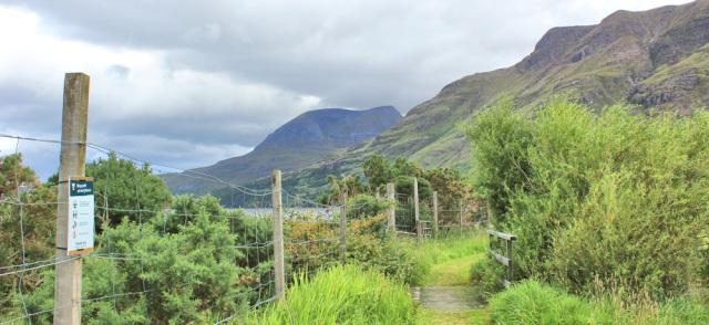 011 foopath along shore to Fasag, Ruth walking the coast of north-west Scotland