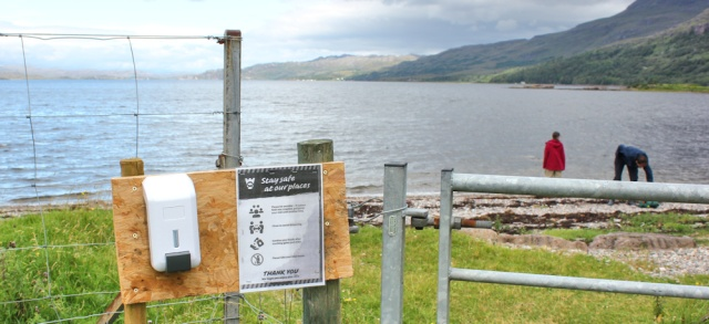 012 Stay Safe at our Places sign, Loch Torridon, Ruth walking the coast of north-west Scotland