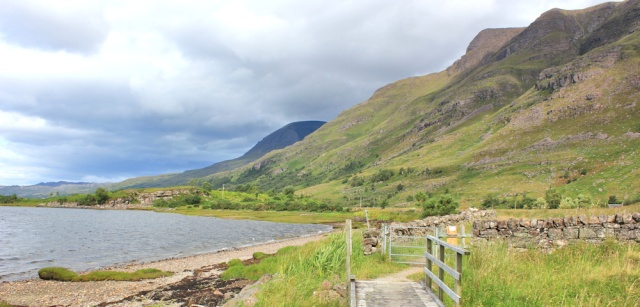 013 mountains ahead, Loch Torridon shore, Ruth walking the coast of north-west Scotland