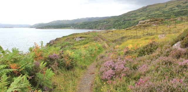 033 Path to Inveralligin, Ruth walking the coast from Torridon, Scotland