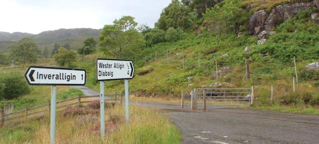 040 Inveralligin Junction, Ruth walking the coast from Torridon, Scotland