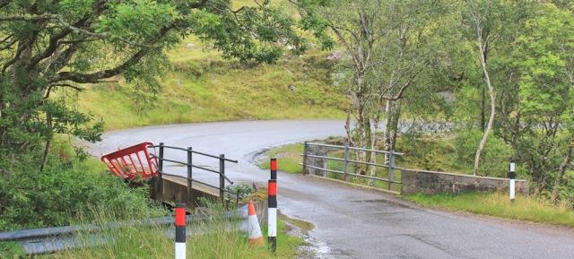 041 bridge over Abhainn Alligin, Ruth walking the coast from Torridon, Scotland