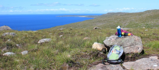 24 lunch at the top of the hill, Ruth's coastal walk to Craig Bothy and back, Scotland
