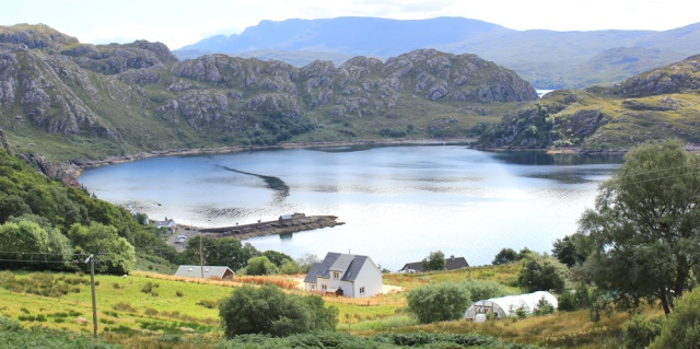 32 view over Lower Diabaig and the bay, Ruth walking the coast of NW Scotland