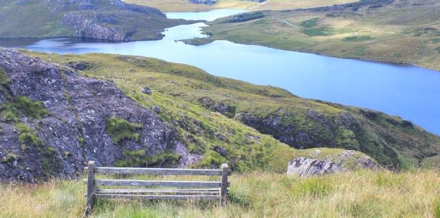 47 picnic spot, but midges strike, Bealach na Gaoithe, Ruth walking the coast of NW Scotland