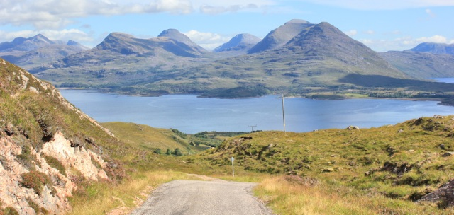 50 view down to Loch Torridon, Bealach na Gaoithe, Ruth walking the coast of NW Scotland